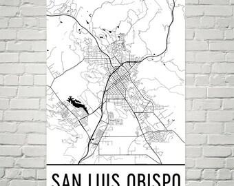 San Luis Obispo Art Print, San Luis Obispo CA Art Poster, San Luis Obispo Wall Art, Map of San Luis Obispo, Birthday, Gift, Modern, Art