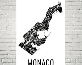 Monaco Map, Map of Monaco, Monaco Art, Monaco Decor, Monaco Gift, Monaco Print, Monaco Poster, Monaco Wall Art, Monaco Gifts, Monaco