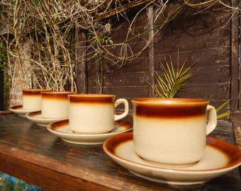"T.G. Green, ""Woodville"", Oven to Tableware, Stoneware, 1970s Cornishware, Set of Four Retro Cups Saucers, Kitchen, Tea Cups"