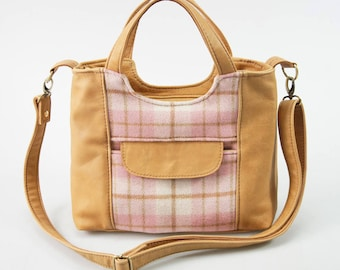 Italian Leather Grab Bag with Adjustable Strap Shoulder Bag Handbag - Biscuit Colour and Pink Thick Felted Wool Scottish Lodden Plaid