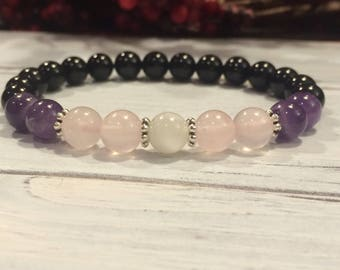 Empath Bracelet, AA Grade Black Tourmaline, Amethyst, Rose Quartz, Moonstone For Protection, Balancing Emotions, Loving Energy, Intuition