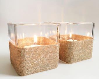 Votive Candle Holder - Gold Votives - Wedding Candle Holders - Glitter Candle Holder - Candle Holder Set - Champagne Gold Home Decor - Table