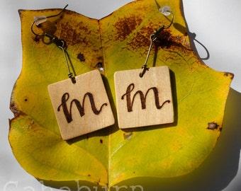Custom   Personalized Wood Burned Monogram Dangle Earrings   Initial Earrings