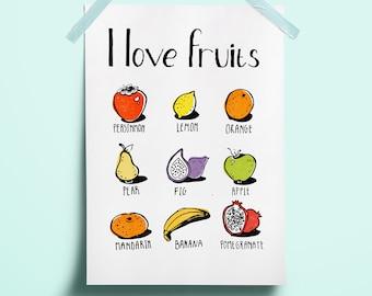 I love fruits Nursery art fruits Children learning art English language art Fruits summer print wall decor Sweet funny art Colorful line art