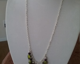 Fashion necklace, charming necklace, Diamond shape necklace, Green and purple bead necklace, Silver chain necklace. Handmade necklace.