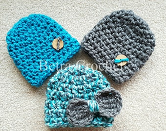 Crochet Baby Hat, Triplet or Twin Hat Set, Photo Props or Baby Gift, Sizes Newborn - 12 Months , Made By Order