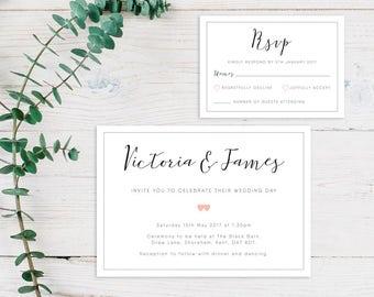 Printable Wedding Invitation/ RSVP/ Save the date/ Thankyou card/ PDF/ Download/ Custom/ Script/ Hearts/ Victoria suite #008