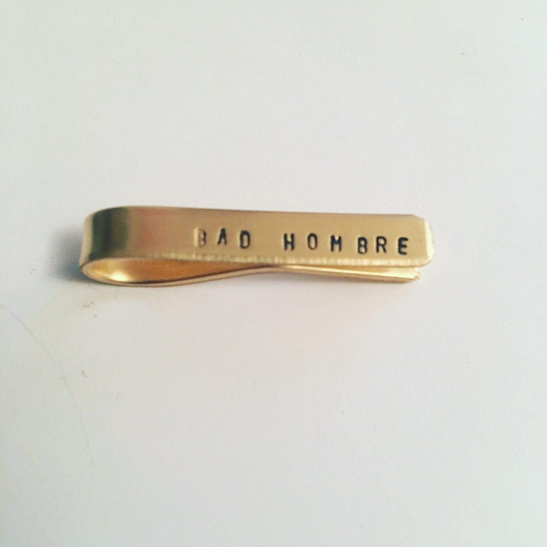 Bad Hombre Tie Bar//Bad Hombre//Tie bar//tie clip//Mens Accessories//suit//tie//giftsformen//luxandlucajewelryco//gold tie bar// sil
