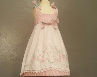 Reversible Vintage Embroidered Baby Dress with Textiles from Flea Markets of Paris and New York.  Floral!  Size 18 - 24 mo