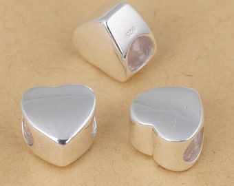 S925 Sterling Silver Heart shape beads Large hole/big hole European style bracelet charms beads , bright silver ,10mm 1pc