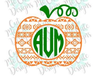 SVG DXF PNG cut file cricut silhouette cameo scrap booking Aztec Pumpkin Monogram (Font Not Included)