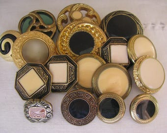 17 Vintage Metalized Faux Stone Buttons