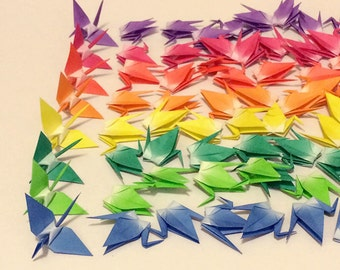 80 small origami cranes origami paper cranes made of 3 inch 7.5 cm 8 rainbow colors red, pink, orange, purple, yellow, blue, and green
