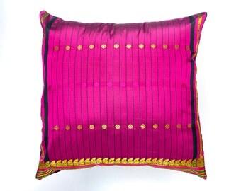 Indian Sari silk pillow, decorative pillow, cushion cover, Indian cushion, throw pillow, pillow cover, silk pillow, home decor pillow