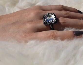 Quartz Crystal Pyramid Ring
