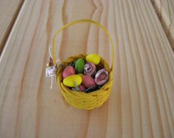 Miniature Yellow Easter Basket with Green Faux Easter Grass and 12 Different Colors Mini Polymer Clay Eggs