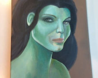 Portrait Of A Woman In Green. Original Painting.