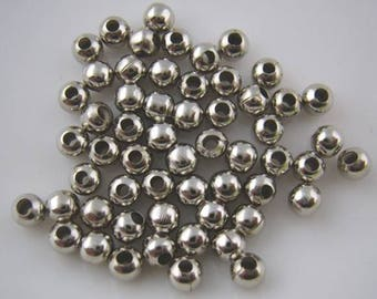 50 pc Silver Tone 4mm Spacers