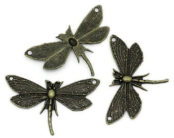 Antique Bronze Dragonfly Pendant 49x30mm