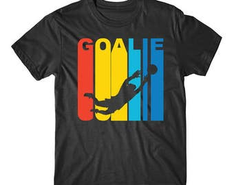 Retro 1970's Style Soccer Goalie Silhouette Sports T-Shirt