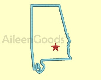 Alabama  Applique Design 7 Alabama State Shape AppliqueSize -INSTANT download machine embroidery