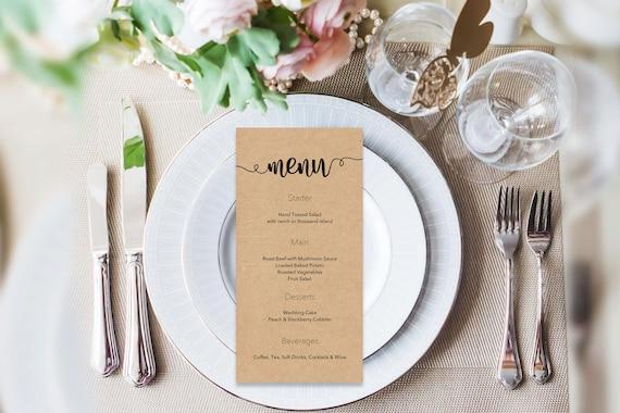 Menu word template_29,table menu, word template, weddings, editable menu card, napkin menu insert,calligraphy
