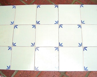 """16 Vintage Blue & White Hand Painted Tiles Portugal - 8 Deco - 8 Field - 5 1/2"""""""