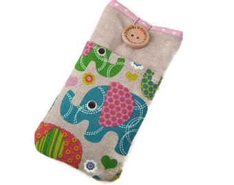 iPhone 7 Plus Fabric case, Linen iPhone 7 Pouch , iPhone SE case cover, iPhone 6 Case, iPhone 5 case, iPod Touch purse Elephants pockets