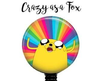 Adventure Time Jake Retractable Badge Reel,   Retractable ID Badge Holder,  Badge Reel, ID Badge Reel