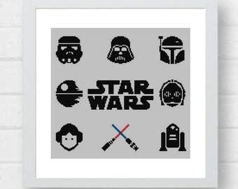 Star Wars Cross Stitch Pattern/star wars cross/star wars pattern/star wars stitch/movie cross stitch/star wars xstitch#06-003