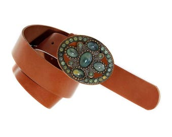 Brown leather belt, womens leather belts, belt boho, oval buckle, hippie belt, belt fantasy, green buckle, flower buckle, leather belt woman