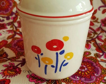Japanese Ceramic Canister - Jar - Sugar Bowl - Cotton Buds - Poppies - Flower