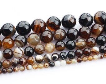 Brown Banded Agate round Ball loose gemstone beads strand 16'' 4mm 6mm 8mm 10mm 12mm