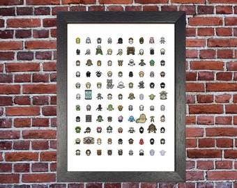 Star Wars Mini Pixel Classic Geek Nerd Movie Print Classic Digital Pixel Art A3 Print