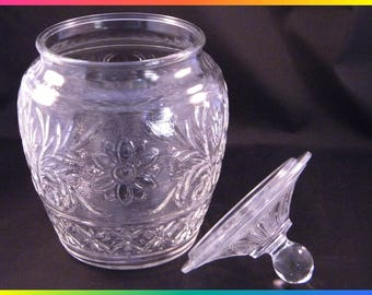 Vintage Anchor Hocking Sandwich Pattern Clear Glass Cookie Jar