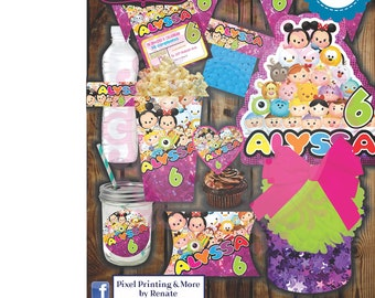 Personalized and Printable Tsum Tsum Invitation Party Kit (Digital)