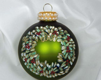 Hand Painted Ornament. Painted Ornament. Wreath Ornament. Glass Ornament. Painted Glass Ornament. Christmas Ornament.