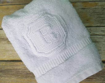 Set of Two White Embossed Embroidered Hand Towels, Initial Monogram Embroidered Hand Towel Set, Housewarming Engagement or Wedding Gift