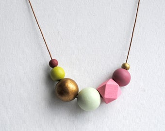Chunky Geometric Necklace, Boho necklace, Statement Necklace, Bohemian Jewelry, Handmade necklace, Wooden necklace