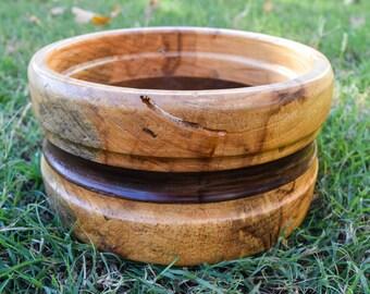 Handmade Banded Wood Bowl