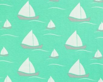 Cotton Jersey Vera sailing ships on Mint (15.90 EUR / meter)