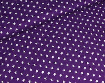 Cotton Carrie White Star on purple (8,90 EUR / meter)