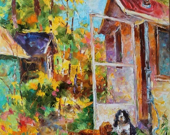 Original oil painting, 2 dogs in front of chalet