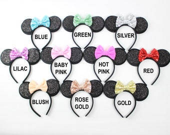 Minnie Mouse Ears Headband with Glitter Bow   Birthday Headband   Disney Girl Gift   Minnie Ears   Choose Color