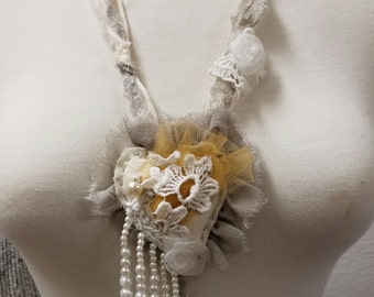 Heart, Soft Sculpture Necklace, Upcycled, Vintage, Fabric, Pearls, Lace, One of a Kind, Jewelry, Necklace