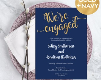 Engagement Party Invitation - Engagement Invite - Printable Engagement - Navy Blue and gold - Downloadable Wedding #WDH0212