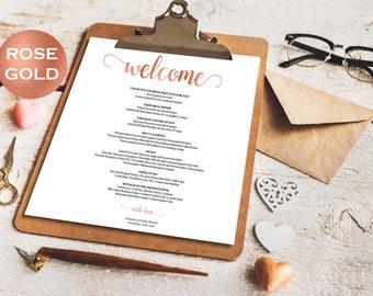 Wedding Itinerary - Welcome Bag - Rose Gold  Wedding - Wedding Favor - Wedding Welcome Bag Note - Downloadable wedding #WDH812112
