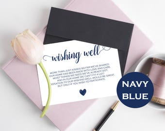 Wishing Well Card - Lieu of gifts - Wishing Well Printable - Wishing Well Poem- Navy Blue Wedding - Downloadable wedding #WDH812226