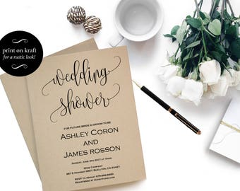 Wedding Shower Invitation Template - Print on kraft - Modern Calligraphy Wedding - Bridal Shower Printable - Downloadable wedding #WDH812255