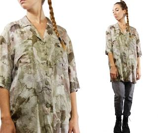 Silk Blouse Green / Silk Blouse Women / Flower Print Shirt / Flower Print Blouse / 90s Silk Shirt / 90s Silk Blouse / Vintage Silk Shirt